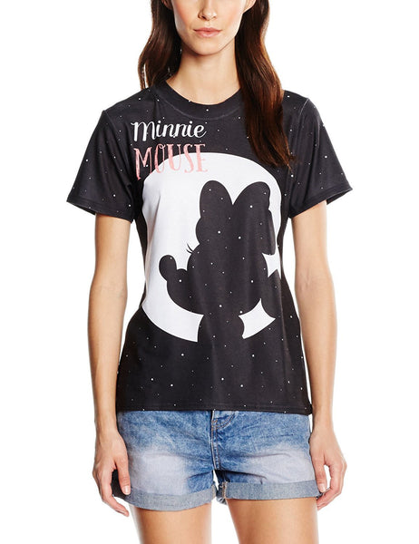 Disney Womens Minnie Mouse Moon Silhouette T-Shirt