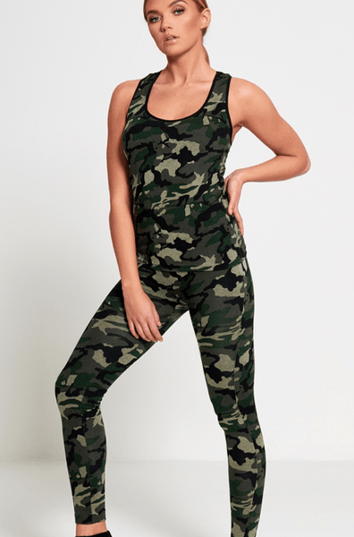 Diva Dames Womens Army Camo Print Activewear Two Piece Set