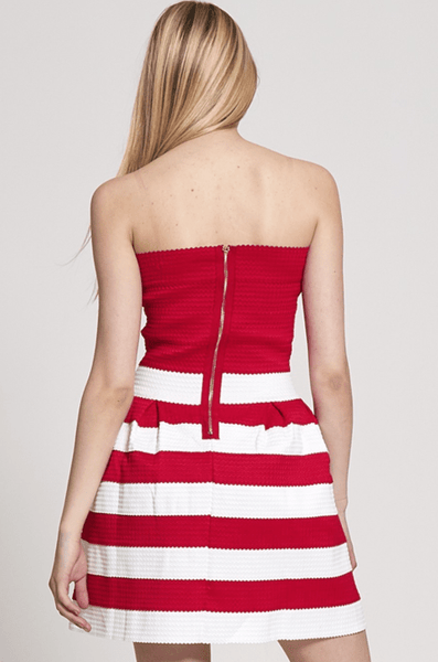 Diva Dames Womens Red Bandage Bandeau Skater Mini Dress - Stockpoint Apparel Outlet