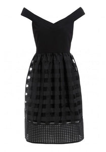 Elise Ryan Womens Bardot Fit and Flare Dress in Black