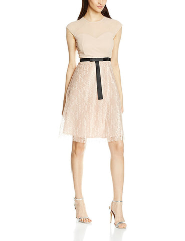 Elise Ryan Womens Lace Skater with Short Bow Dress