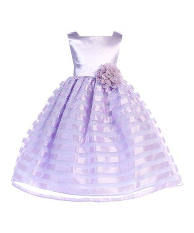 Ellie Kids Girls Lilac Satin-Stripe Dress