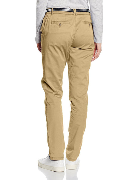 Esprit Womens Casual Stretch Cotton Khaki Biege Chinos with Belt