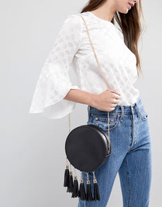French Connection Womens Tassel Edging Black Circular Crossbody Bag