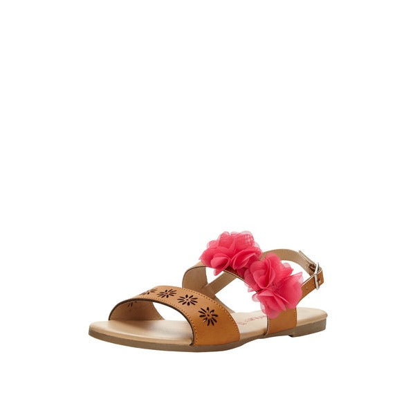 Freespirit Girls Chun Ruffle Tan / Pink Sandal