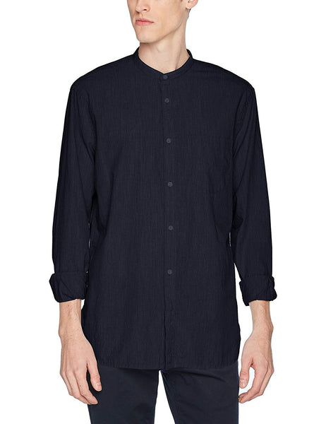 French Connection Black Iris Melange Mens Grandad Casual Shirt
