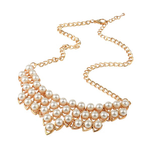 Front Row Womens Gold Colour Glass Pearl Necklace of Length 50cm