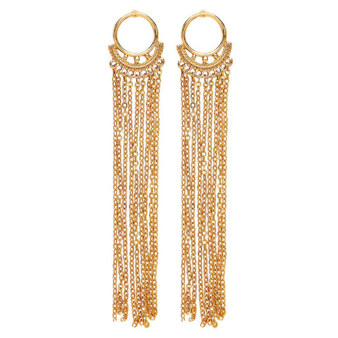 Front Row Gold Colour Long Drop Chain Tassel Earrings - Stockpoint Apparel Outlet