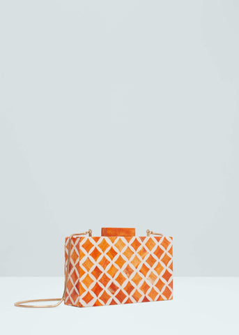 Mango Geometric Coral Red Womens Clutch Bag