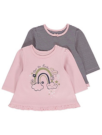 George 2 Pack Assorted Baby Girls Long Sleeve Tops