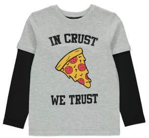 George Boys Grey Pizza Graphic Top