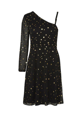 Womens Gold Star Print Black Dress