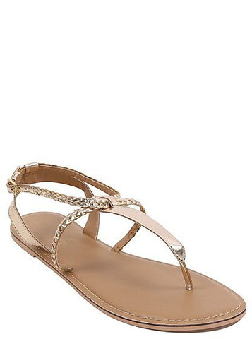 George Womens Metallic Leather Sandals