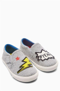 Next Grey Badge Slip-On Baby Boys Shoes