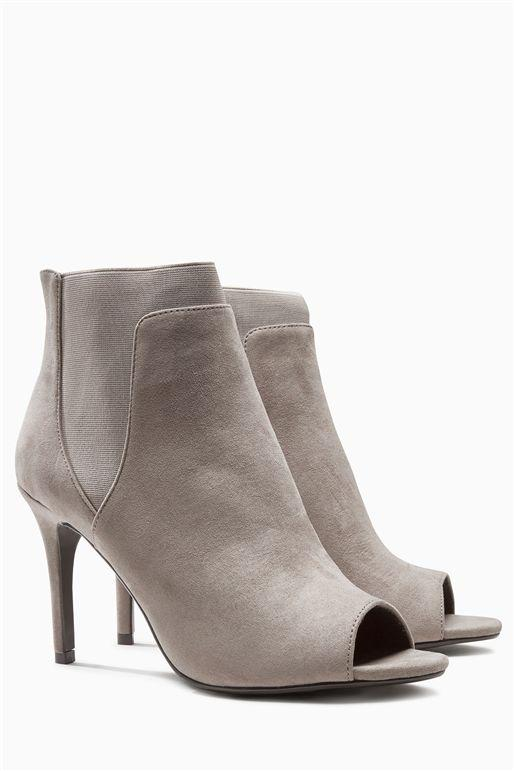 Next Womens Grey Peep Toe Shoe Boots
