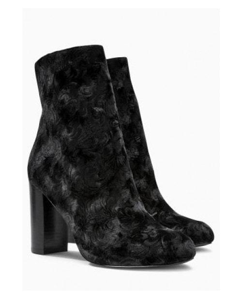 Next Velvet Block Heel Boots Black Embossed - Stockpoint Apparel Outlet