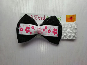 SassySleek Girls Black Hairband with Ivory Stretchy Strap
