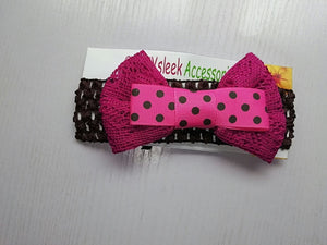 SassySleek Girls Pink Hairband with Black Stretchy Strap