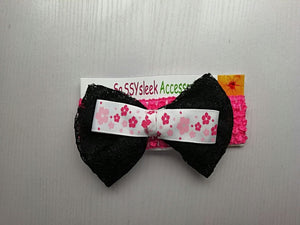 SassySleek Girls Black Hairband with Pink Stretchy Strap