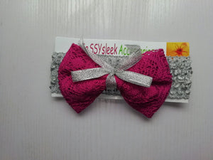 SassySleek Girls Pink Hairband with Grey Stretchy Strap