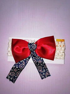 SassySleek Girls Red Hairband with Cream Stretchy Strap