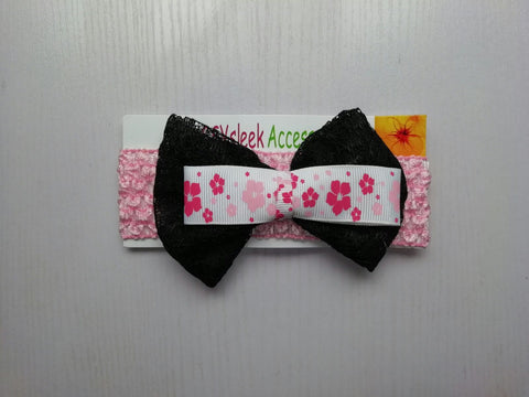 SassySleek Girls Black Hairband with Light Pink Stretchy Strap