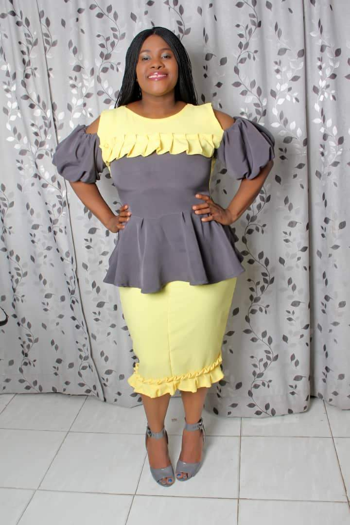 Sassily Womens Betty Yellow & Grey Two Piece Peplum Top & Skirt