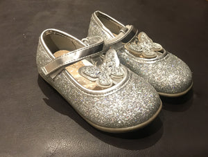 F&F Butterfly Silver Glitter Younger Girls Party Shoes