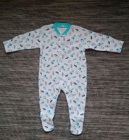 Baby Boys White with Blue Design Sleepsuit