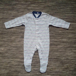 Baby Boys Blue Striped Sleepsuit