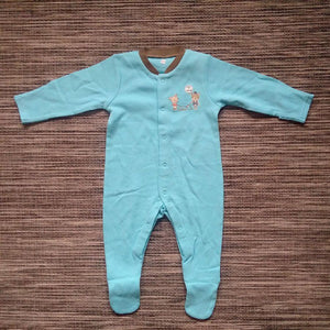 Baby Boys Teal with Brown Detail Sleepsuit