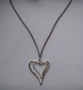 Accessory Womens Silver Heart Shaped Leather Strap Necklace