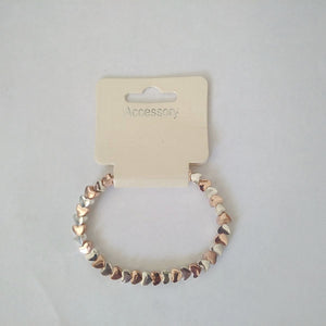 Accessory Womens Heart Shaped Rose Gold & Silver Bracelet