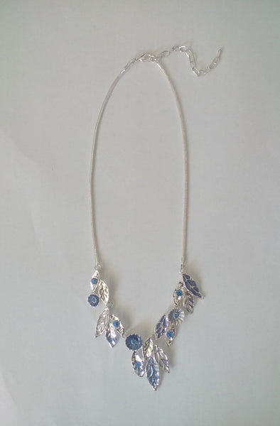Accessory Silver Plated Blue Tonal Floral Womens Necklace