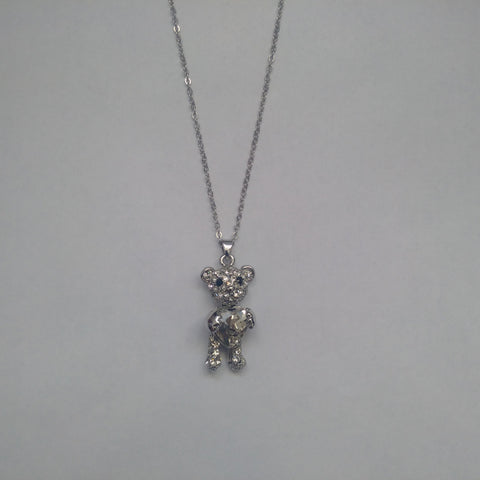 Silver Teddy Bear Heart Stone Set Pendant & Necklace