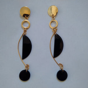 Primark Gold & Black Drop Statement Earrings - Stockpoint Apparel Outlet