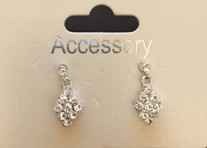 Accessory Womens Crystal Stone Silver Effect Earrings