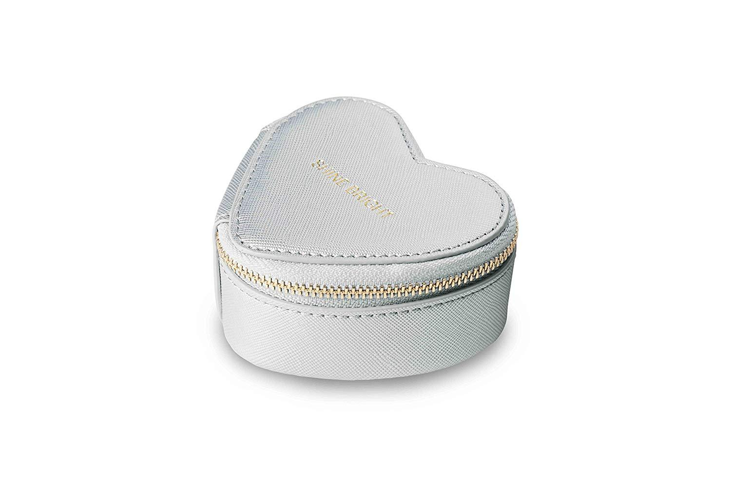 Katie Loxton London Small Heart Travel  Metallic Silver Jewellery Case - Stockpoint Apparel Outlet
