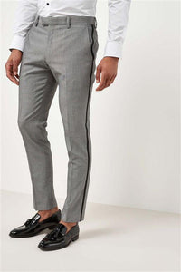 Next Mens Light Grey Skinny Fit Tuxedo Suit Trousers
