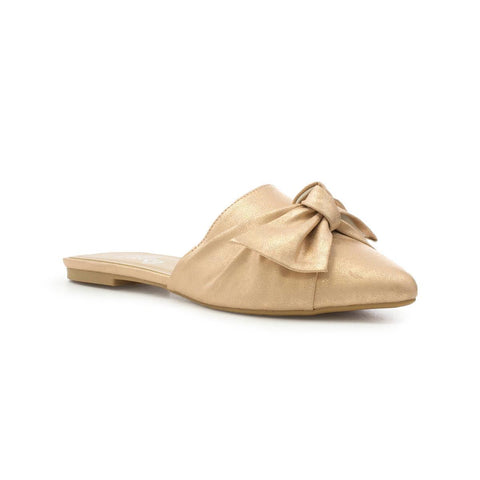 Lilley Womens Rose Gold Knotted Bow Pointed Mule