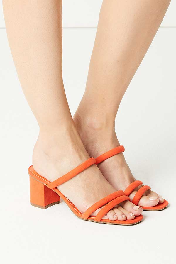 M&S Collection Orange Multi Strap Mule Womens Sandals