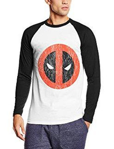 Marvel Mens Deadpool Cracked Logo Long-Sleeve T-Shirt