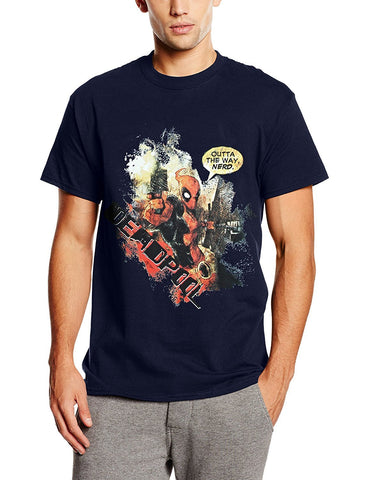 Marvel Deadpool Outta The Way Nerd Mens Navy T-Shirt