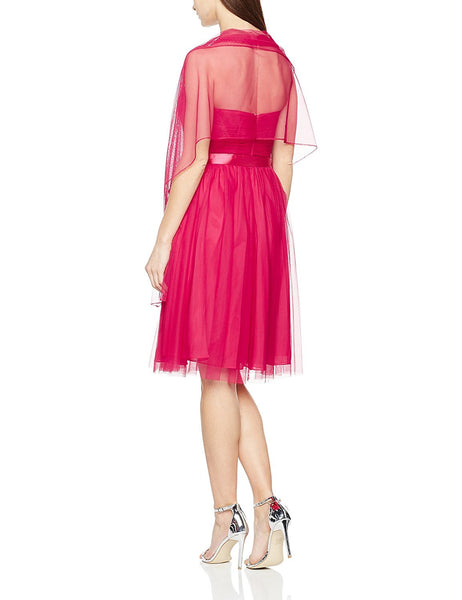 Mascara Women's Nett Bow Gown Dress Magenta - Stockpoint Apparel Outlet