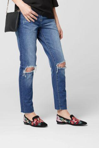 Next Mid Blue Relaxed Rip Knee Jeans - Stockpoint Apparel Outlet