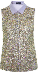 Miss Selfridge Front Sequin Embellished Lilac Sleeveless Shirt - Stockpoint Apparel Outlet