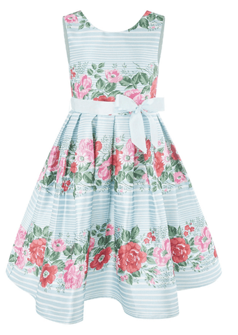 Monsoon Girls Blue Floral A-Line Dress