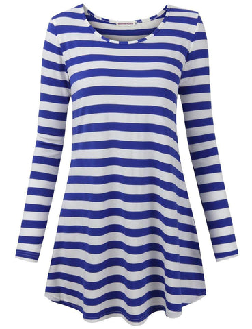 Moosungeek Womens Blue Stripe Pattern Loose Tunic Top