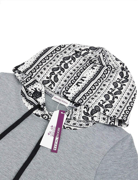 Moosungeek Womens Patchwork Elephant Paisley Hoodie With Kangaroo Pocket