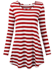 Moosungeek Womens Red Stripe Pattern Loose Tunic Top